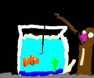 Giant dildo fishes for goldfish.