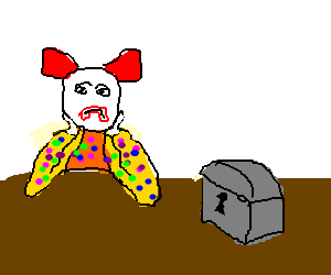A clown is tired of a locked box