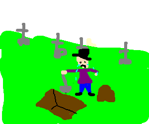 A sad man digs a grave