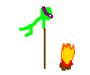 Angry Donatello pole-vaulting over a bonfire.