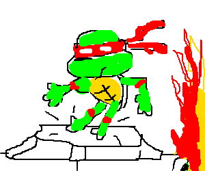 Raphael jumps on parked car and starts a fire