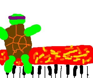 TMNT playing foot keyboard while avoiding lava