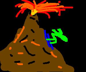 skiing down errupting volcano