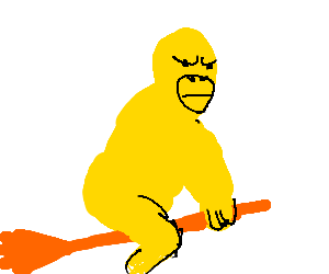 A yellow gorilla is stuck on a tiny flying broom