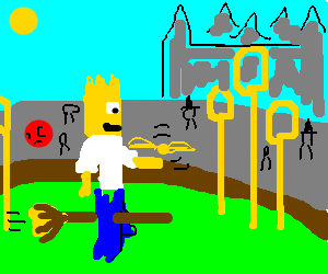 Homer Simpson plays Quidditch