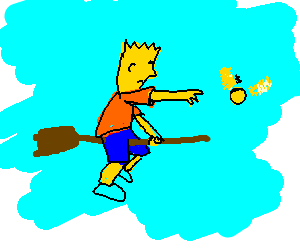 Bart Simpson chasing a Golden Snitch on a broom