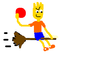 Bart Simpson on a flying broom throwing ball