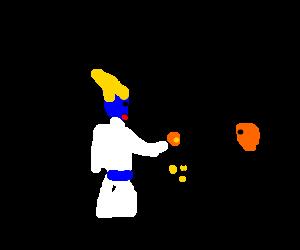 Osiris tips a busker