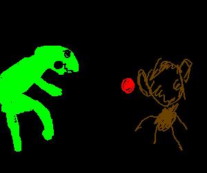Raptor slings yoyo at a monkey's head.
