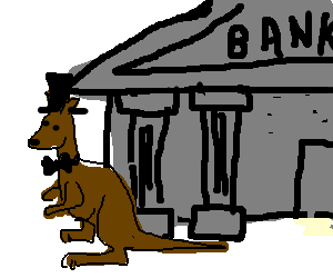 dignified kangaroo owns a bank