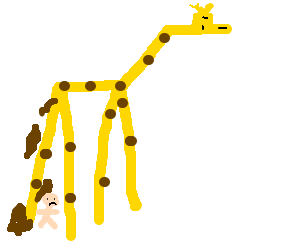 Giraffe poops a big pile of poop on a little kid