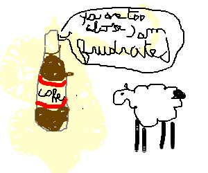 Coke bottle frustrated by sheep's promiscuity