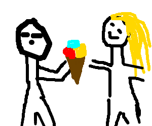 a guy gives an ice cream to a girl