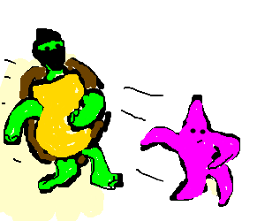 Naked ninja turtle wannabe chasing seastar