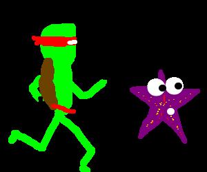 Ninja turtle runs after purple starfish