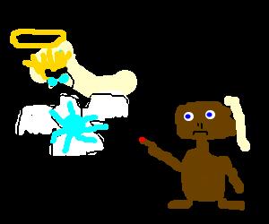 Super Saiyan angel uses kamehameha on ET