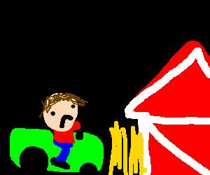 Sad farmer harvests wheat