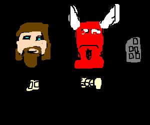 Jesus, devil and remote on gameshow
