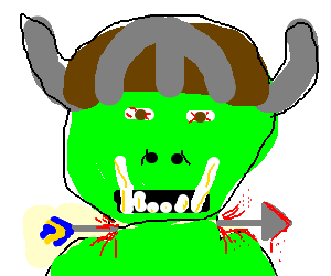 Orc took an arrow to the neck, not knee...