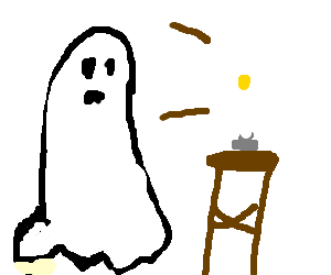 Bedsheet ghost with candlelight in lieu of face