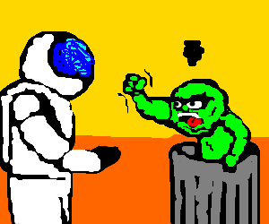 Angry muppet yells at astronaut