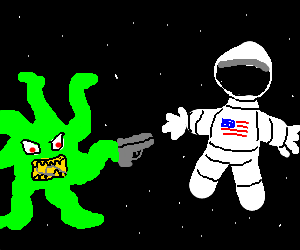 astronaut held at gun point by alien IN SPACE
