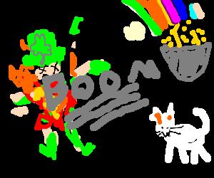 A Leprechaun Blows on a White Cat