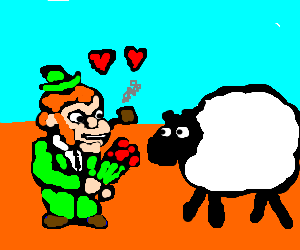 Leprechaun is ready to make love to a sheep