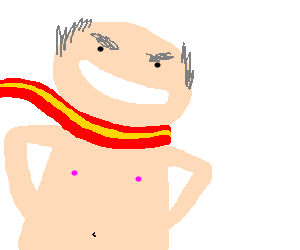 nude man wearing scarf is angrily happy
