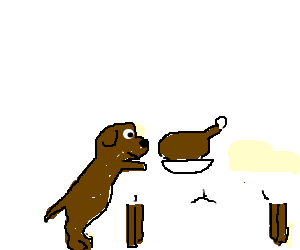 dog steals turkey off the dinner table