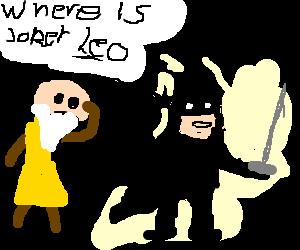 da Vinci and Batman(with rapier) look for Joker