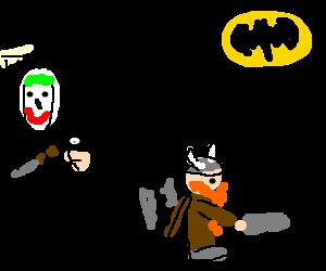 Batman stabs Joker poster,dwarf shines Batsignal