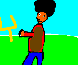 Man with afro reaches for goal posts