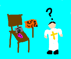 Chair tries to sell chewed mint gum to priest