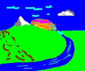 Sunset landscape with a river and a mountain.
