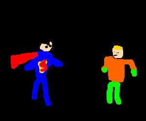 Polite Superman greeting politely.