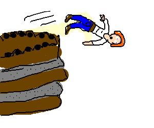 Man jumping off chocolate-and-cement cake