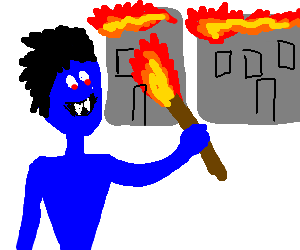 Blue vampire sets fire to buildings
