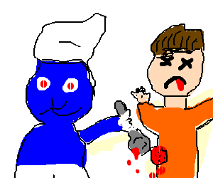 Psycho Smurf kills man with a spoon