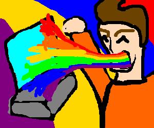 Man vomiting rainbow onto computer