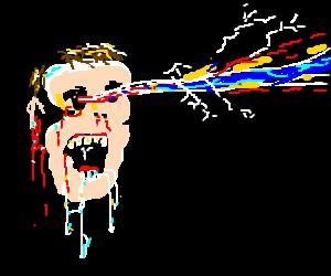 Horrific man firing laser beams from his eyes
