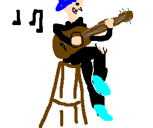 punk girl with blu hair playing acoustic guitar