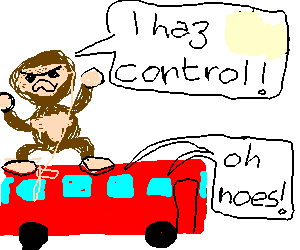 A gorilla hijacks the bus