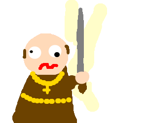 Medieval monk lost it, and now has a huge knife
