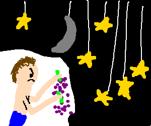 Man angrily holds grapes under the moon & stars