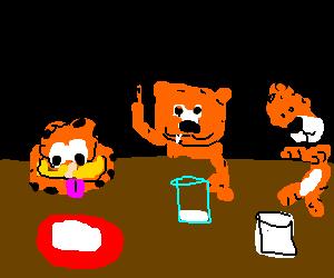 Garfield, Heathcliff and Hobbes walk into a bar.