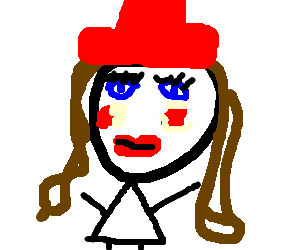 Heavily make-uped lady with red hat