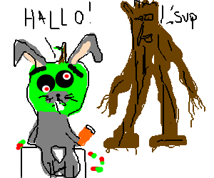 "Psychotic apple bunny says ""Hello"" to an Ent to"