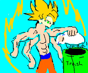Super sayan with 4 arms throws away baby