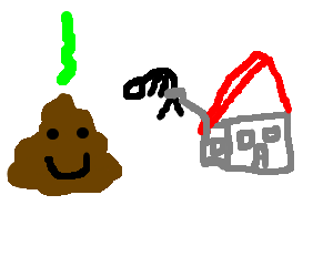 Poop Man smiles n watches house lift up mans bum